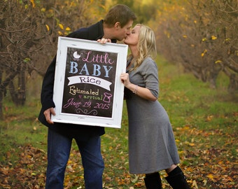 Pregnancy Announcement Chalkboard Poster/Sign Printable Photo Prop - Gender Reveal - Baby Shower - Expecting - Boy or Girl