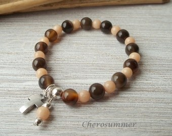 Gemstone bracelet agate jade cross