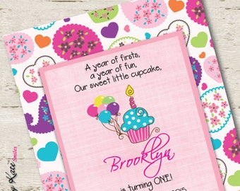 First Birthday Invitation Cupcake Paisley