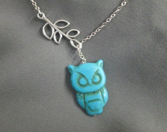 Turquoise Owl and Branch Necklace - Lariat Necklace