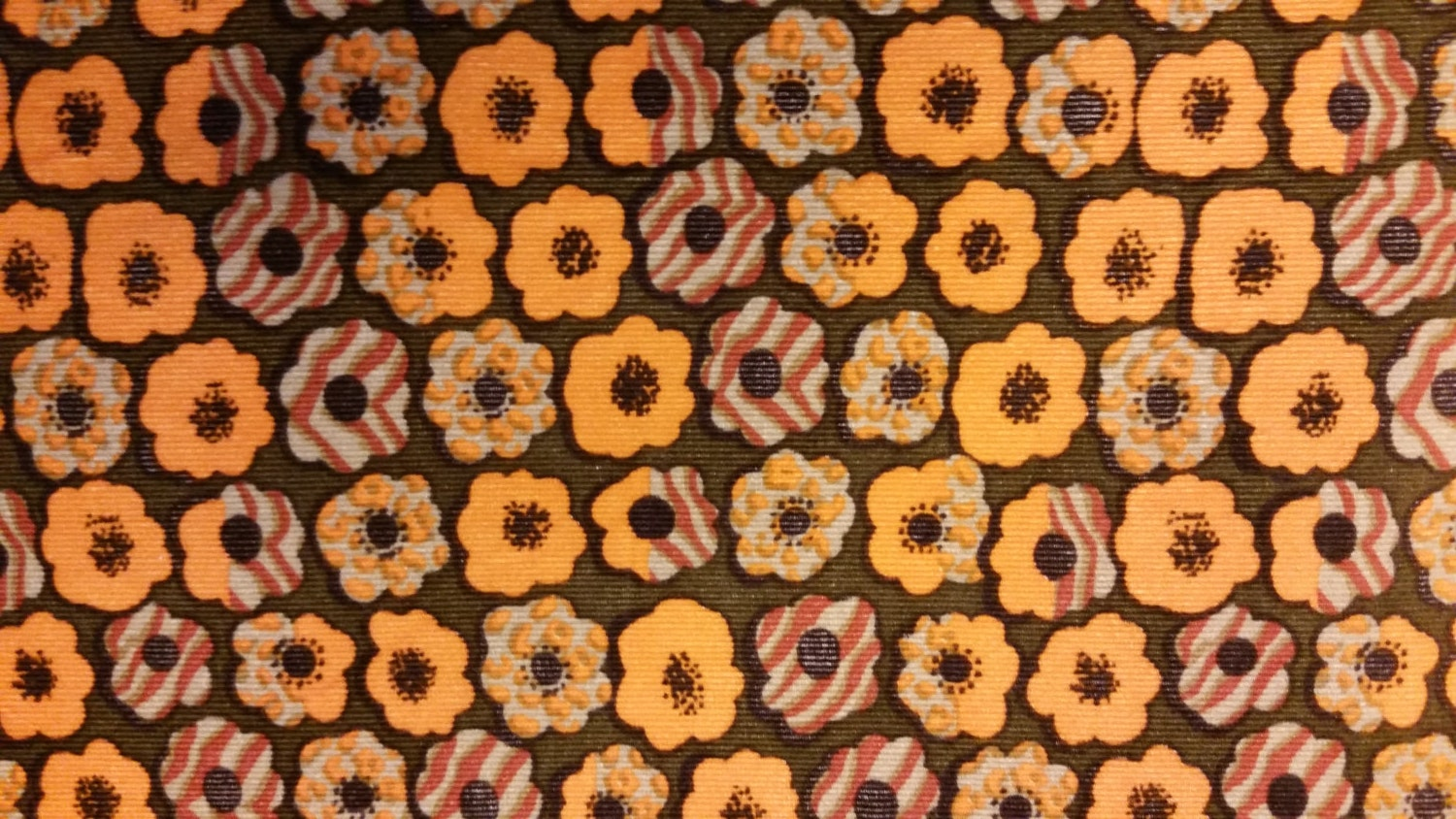 Brown corduroy fabric with orange and tan flowers 0 by the for Children s corduroy fabric