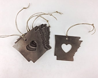 FREE SHIPPING Heart Arkansas Steel State Ornament or Decoration - Recycled Metal