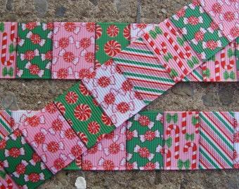 """1"""" Christmas Candy Printed Ribbon 3 yards"""