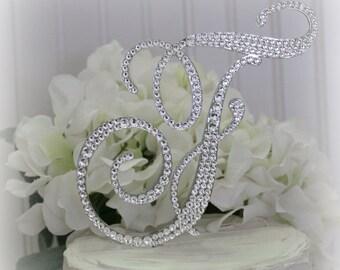 """Monogram Wedding Cake Topper 5.5"""" Swarovski Crystals letter A B C D E F G H I J K L M N O P Q R S T U V W X Y Z"""