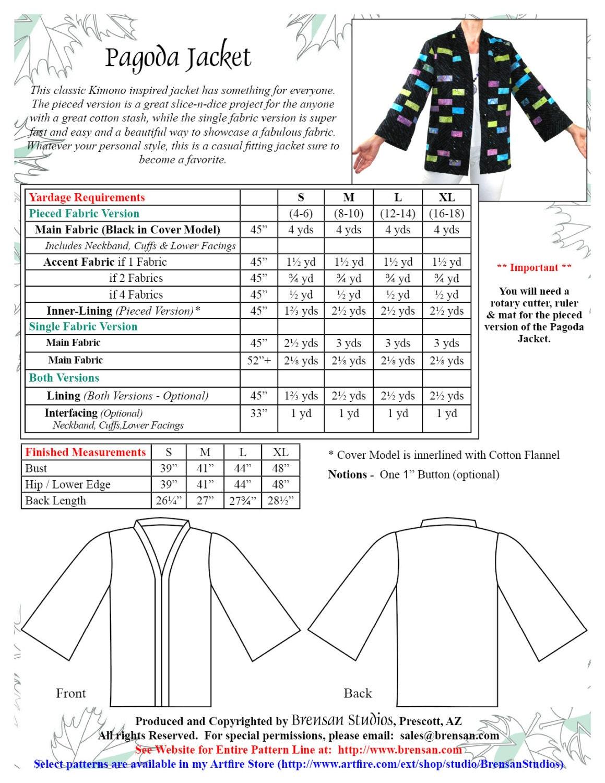Pagoda jacket pattern haori or kimono sewing pattern bss160 from 1895 jeuxipadfo Image collections