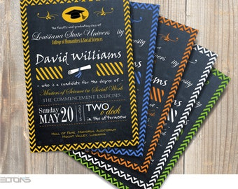 Graduation Invitation, Custom Chevron & Chalkboard Graduation Announcement, Double-Sided Graduation Invitation, DIY