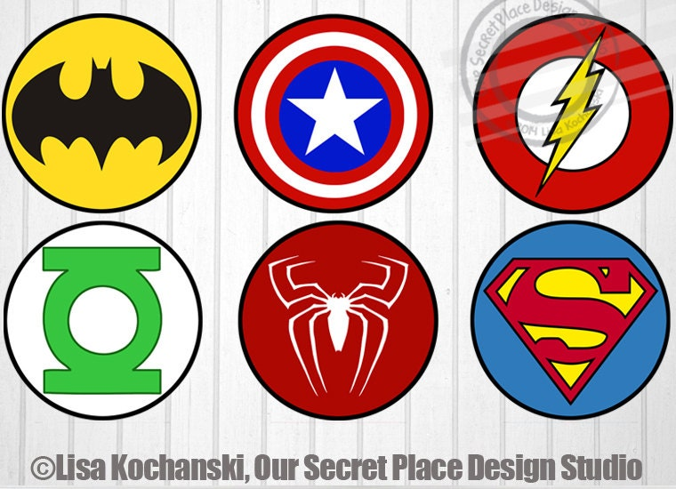 INSTANT DOWNLOAD Superhero Logo Stickers by OurSecretPlace on Etsy