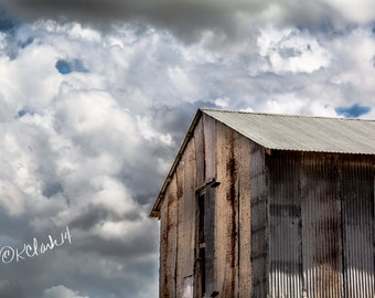 Tin Shed Fine Art Photography Texas Country Rustic Home Decor Storm clouds ranch life rusty building dramatic sky Large wall art gray brown