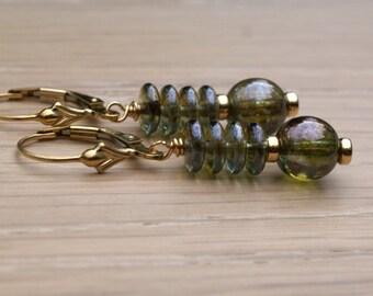 Czech glass drop earrings, dangle earrings, earthy green glass earrings, 14k gold filled lever back ear wires, gift for her, jewelry gift