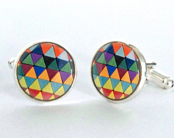 Geometric Pattern Cufflinks Mid Century Modern Design Silver Plated Cufflinks - gift for him - Fathers Day Gift