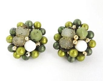Earrings - Vintage Japan Green Bead Earrings, Cluster Clip-on Earrings,  1950s Jewelry, Gift for Her, FREE SHIPPING