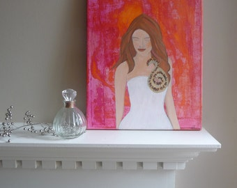 11x14 Bride Mixed Media Original Painting on Canvas