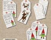 Christmas Gift Tags, Christmas tags, Gift tags, Cute gift tags, Don't Open Until, Rudolph, Cute Elf tags