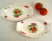 Vintage Egersund Norway pottery two oval serving dishes with vegetable pattern