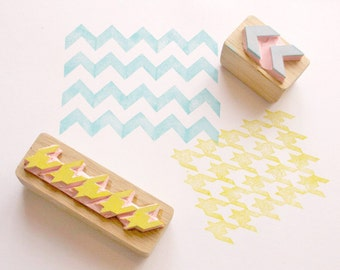 Chevron Stamp - Repeat Printing Chevron Stamp - Chevron Wall Planner Stamp - Hand Carved Rubber Stamp - Little Stamp Store