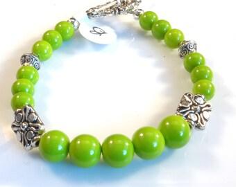 Women's Flurorescent Lime Green Beaded Bracelet
