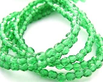 Green Emerald 3mm Facet Round Czech Glass Fire Polished Beads 50pc #2638