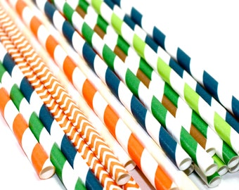 24 camping scout Themed birthday party baby shower Straws decorations orange, navy, green brown stripes chevron boy scouts cub scouts