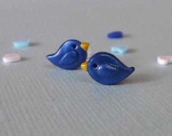 Blue Bird Earrings, Small Bluebirds, Cute Earrings, Blue Stud Earrings, Mothers Day Gift, Hypoallergenic for Sensitive Ears, Something Blue