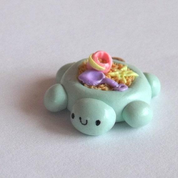 kawaii clay charm turtle sandbox charm by pitterpatterpolymer