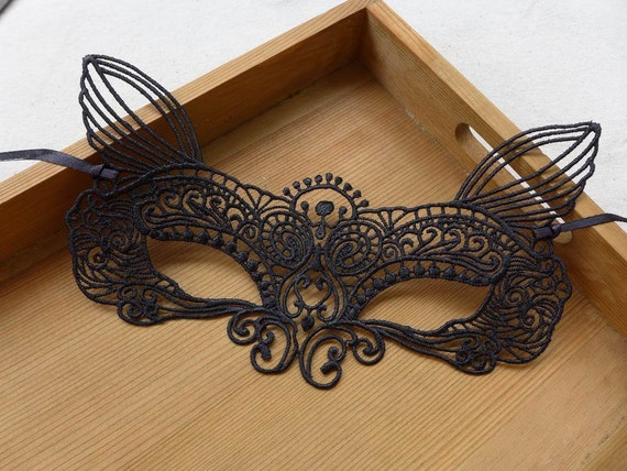 Sexy Black Lace Mask, Bunny Ears Mask, Masquerade Mask, Wedding Mask ...