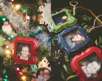 3 Pack-Wood Ornament Frames, Picture Frame Ornament