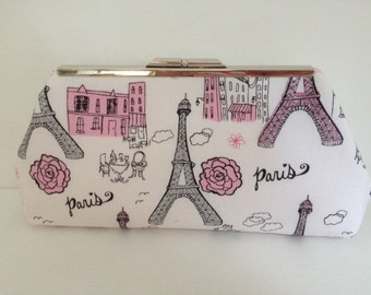 Paris Eiffel Tower Glitter Print Clutch with Silver Tone Finish Snap Close Frame, Bridal, Wedding, Paris, French, Bridesmaid