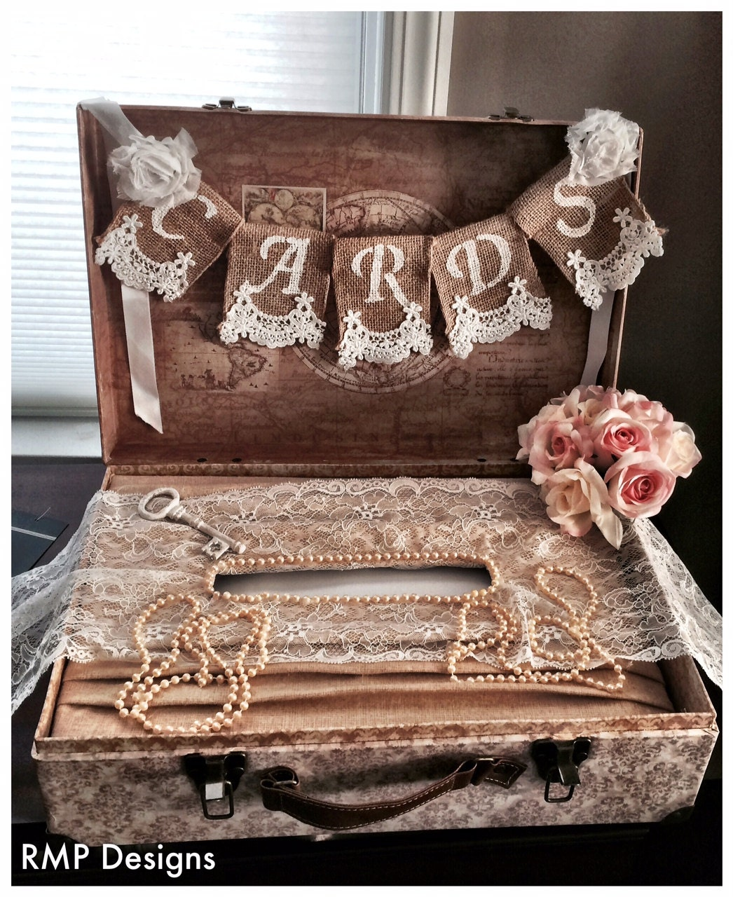 Bridal Shower Gift Greetings : Cards Burlap Lace Banner Wedding Decor by StacyLavelleDesigns