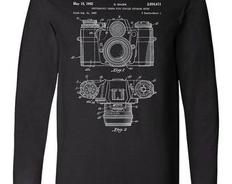Camera Patent Long Sleeve T Shirt, Camera TShirt, Photographer Gift, Photographer Shirt,  PP0006
