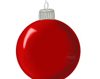 Turquoise Christmas Ornament Clip Art Hand Painted Clip Art