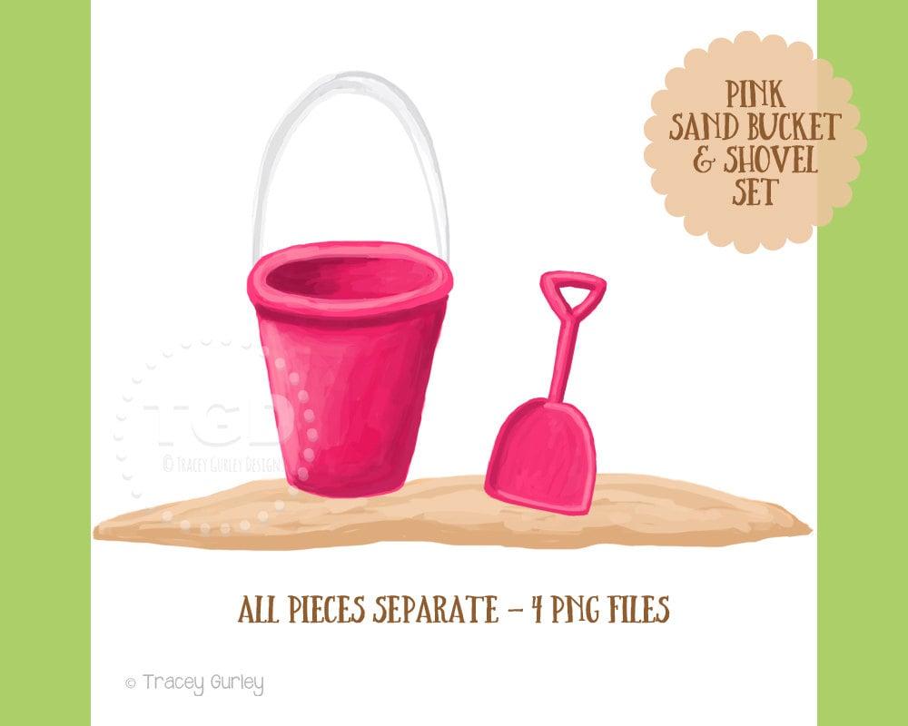 pink sand bucket and shovel clip art set beach clip art sand