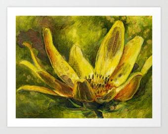 Yellow Flower Art Print, Fine Art Print, Flower Print, Acrylic and Mixed Media Giclée Print, Choose Size, Free Shipping