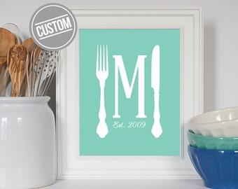 Custom Kitchen Print, Custom Housewarming Gift, Family Initial Art, Utensil Art, Kitchen Decor, Kitchen Art, Kitchen Print, Custom Art