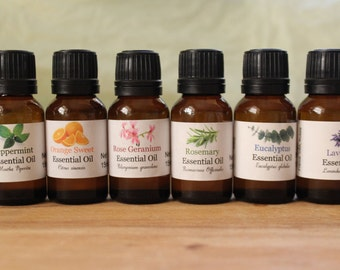 Set of 6 Pure Essential Oils for Beginners #2 .5 oz (15ml) Each Bottle 100% Uncut with Euro Dropper