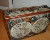 RESERVED  world travel map suitcase  decor  display  or just use it  great  piece will get proper ship quote