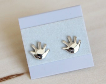 SALE! Sterling Silver Hands Ear posts. Everyday Earrings