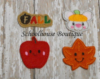 Halloween Variety Pack Felties Mix #1, feltie, Halloween, Thanksgiving, Fall Harvest, machine embroidered, felt planner clip, badge reel