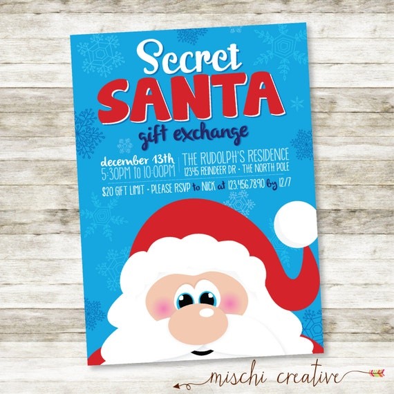 Secret Santa Gift Exchange Holiday Party Digital Printable