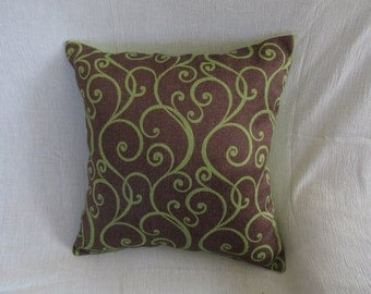 Brown - Green, vine patterned pillow case