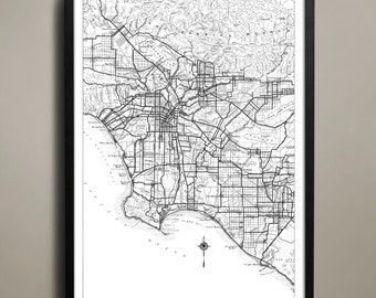 Los Angeles City Map - Los Angeles City Poster - LA City Print - Los Angeles Map - Los Angeles Map Print - LA Poster - Map of LA City
