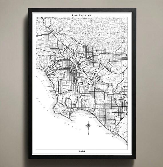 Los Angeles City Map Poster La Print: Los Angeles Map Print At Infoasik.co