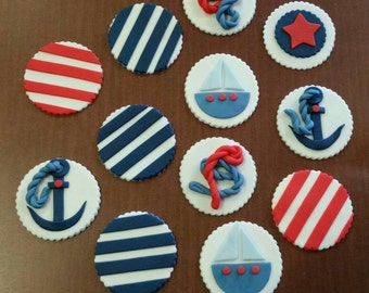Set of 12 Nautical Themed Cupcake Toppers! Boy Baby Shower