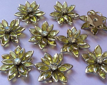 4 pcs 24 mm Rhinestone Cabochon Flower,24 mm Olive Green Flower.Rhinestone flower,green rhinestone,light green rhinestone,rhinestone earring