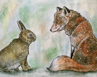 A3 'The fox and the hare' illustration print.