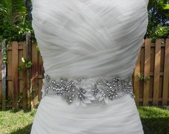 Rhinestone and Pearl Floral Bridal Sash with Silk Petals - Wedding Dress Belt