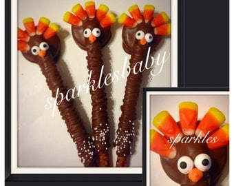 Thanksgiving Turkey Pretzel Oreo Pops - Set of 12 Chocolate Turkey lollipops