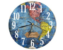 Vintage Map Page Clock. Decoupage Handmade Clock In Blue Pink Yellow Shades. . 8 Inch Diameter.