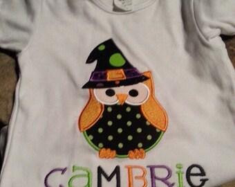 Owl Halloween Applique Shirt