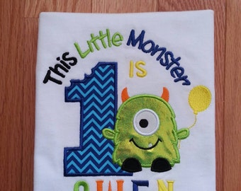 Monster Birthday Shirt, monster 1st birthday shirt, Embroidered monster shirt