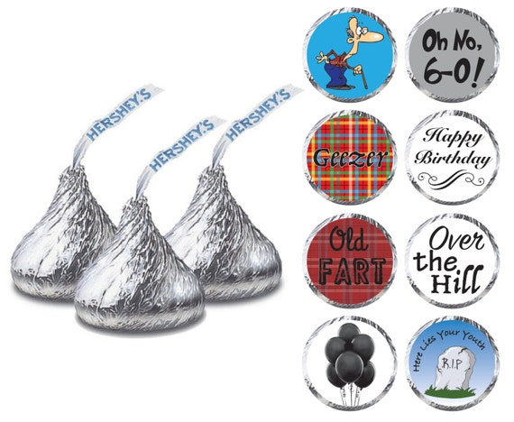 DIY Over the Hill 60th Birthday Party Printable Hershey Kiss Labels